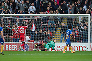 Amadou Bakayoko of Walsall celebrates as the ball hits the back of the net from Daniel Agyei's of Walsall shot during the EFL Sky Bet League 1 match between Walsall and Shrewsbury Town at the Banks's Stadium, Walsall, England on 7 October 2017. Photo by Darren Musgrove.