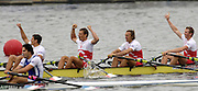 Poznan, POLAND.  2006, FISA, Rowing World Cup POL M4X, celebrate victory on home waters, bow, Konrad WASIELEWSKI, Marek KOLBOWICZ, Michal JELINSKI, Adam KORAL Gold Medallist on the 'Malta Regatta course;  Poznan POLAND, Sat. 17.06.2006. © Peter Spurrier   ....[Mandatory Credit Peter Spurrier/ Intersport Images] Rowing Course:Malta Rowing Course, Poznan, POLAND