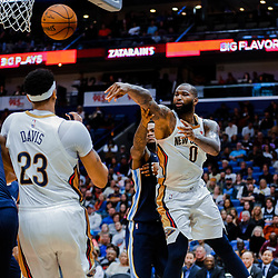 Jan 20, 2018; New Orleans, LA, USA; New Orleans Pelicans center DeMarcus Cousins (0) passes against the Memphis Grizzlies during the second half at the Smoothie King Center. The Pelicans defeated the Grizzlies 111-104. Mandatory Credit: Derick E. Hingle-USA TODAY Sports