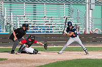 KELOWNA, BC - JULY 17: Dalton Harum #4 of the Wenatchee Applesox watches a low ball go by home plate to the the Kelowna Falcons' catcher at Elks Stadium on July 17, 2019 in Kelowna, Canada. (Photo by Marissa Baecker/Shoot the Breeze)
