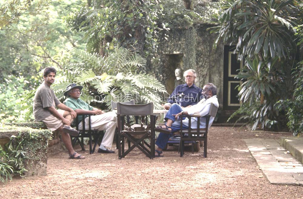 Geoffrey Bawa, Channa Daswatte, Ismeth Raheem, C. Anjalendran, at Lunuganga 1997.