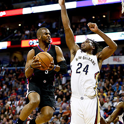 Dec 28, 2016; New Orleans, LA, USA;  Los Angeles Clippers guard Chris Paul (3) shoots over New Orleans Pelicans guard Buddy Hield (24) during the first quarter of a game at the Smoothie King Center. Mandatory Credit: Derick E. Hingle-USA TODAY Sports