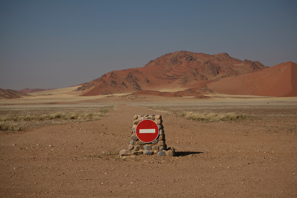 No entry sign in Sossusvlei National park, in Namibia.
