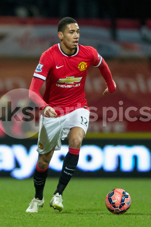 Manchester United's Chris Smalling during the The FA Cup match between Preston North End and Manchester United at Deepdale, Preston, England on 16 February 2015. Photo by James Williamson.