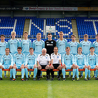 St Johnstone FC U20's Season 2012-13 Photocall<br /> Back row from left, Robbie Norrie, Ross Still, Ally Gilchrist, Gareth Rodger, Craig Reid, Keiran Stewart, Ricky McIntosh, Chris Kane and Andrew Steeves.<br /> Front row from left, Chris Tobin, Scott Gray, Anthony Higgins, Craig Thomson, Tommy Campbell Youth Development Manager, Alec Cleland Coach, Chris Moffat, Greg Mitchell, Matthew McArthur and Callum McConnell. <br /> Picture by Graeme Hart.<br /> Copyright Perthshire Picture Agency<br /> Tel: 01738 623350  Mobile: 07990 594431