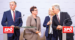 25.08.2014, Parlament, Wien, AUT, SPOe, Pressekonferenz zu den Personalentscheidungen nach Sitzung des Parteipraesidium. im Bild v.l.n.r. designierter Bundesminister fuer Verkehr, Innovation und Technologie Alois Stoeger (SPOe), designierte Gesundheitsministerin Sabine Oberhauser (SPOe), vorgeschlagene Nationalratspraesidentin Doris Bures und Bundeskanzler Werner Faymann (SPOe) // f.l.t.r. <br /> designated Minister of transport, innovation and technology Alois Stoeger (SPOe), designated Minister of Health Sabine Oberhauser (SPOe), designated President of the National Council of Austria Doris Bures (SPOe) and Federal Chancellor Werner Faymann (SPOe) during press conference after Executive Committee meeting of SPOe at Austrian Parliament in Vienna, Austria on 2014/08/25  EXPA Pictures © 2014, PhotoCredit: EXPA/ Michael Gruber