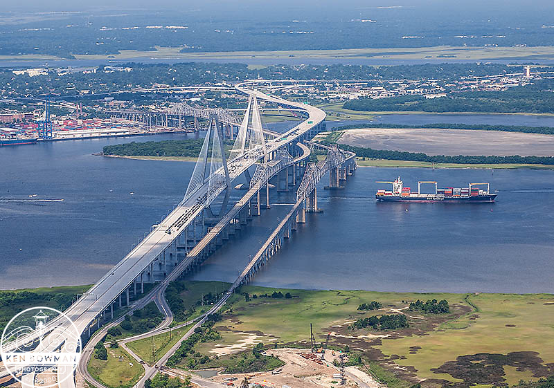 Ravenel Bridge aerial #2 during opening ceremony. July 2005.