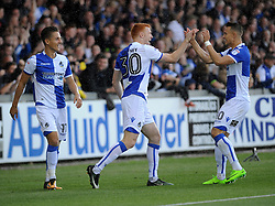 Rory Gaffney of Bristol Rovers is congratulated by Billy Bodin(L) and Tom Nichols(R) - Mandatory by-line: Neil Brookman/JMP - 09/09/2017 - FOOTBALL - Memorial Stadium - Bristol, England - Bristol Rovers v Walsall - Sky Bet League One