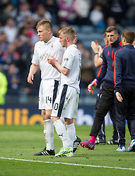 Falkirk's Peter Grant and Falkirk's Craig Sibbald at the end. Falkirk 1 v 2 Inverness CT, Scottish Cup final at Hampden.