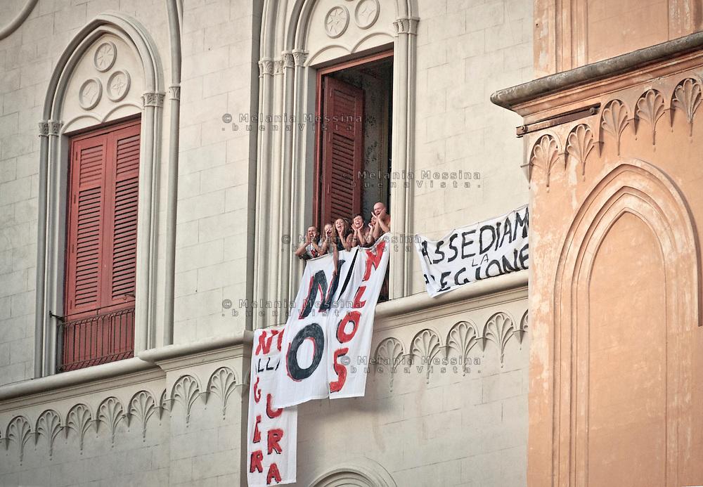 Palermo, attivisti no muos occupano la sede del governo regionale.<br /> Palermo, no Muos activists occupying the seat of Sicilian government