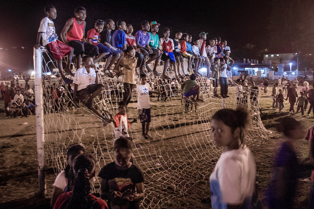 Crowd gathers at a night market in Sorong, West Papua. Non-Papuans now outnumber ethnic Papuans. <br />