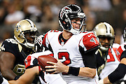 NEW ORLEANS, LA - NOVEMBER 11:  Matt Ryan #2 of the Atlanta Falcons tries to avoid the rush against the New Orleans Saints at Mercedes-Benz Superdome on November 11, 2012 in New Orleans, Louisiana.  The Saints defeated the Falcons 31-27.  (Photo by Wesley Hitt/Getty Images) *** Local Caption *** Matt Ryan