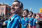 France, Nice, 19 February 2017. Carnaval de Nice, big headed political figures parade.