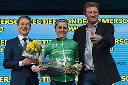 Megan Guarnier collects the cobbles sprint award - Drentse 8, a 140km road race starting and finishing in Dwingeloo, on March 13, 2016 in Drenthe, Netherlands.