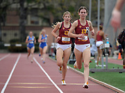 Chloe Berry and Kamryn Weber of Southern California place second and third in the women's 1,500m in 4:27.95 and 4:28.87 against UCLA during an NCAA college dual meet in Los Angeles, Sunday, April 28, 2019.