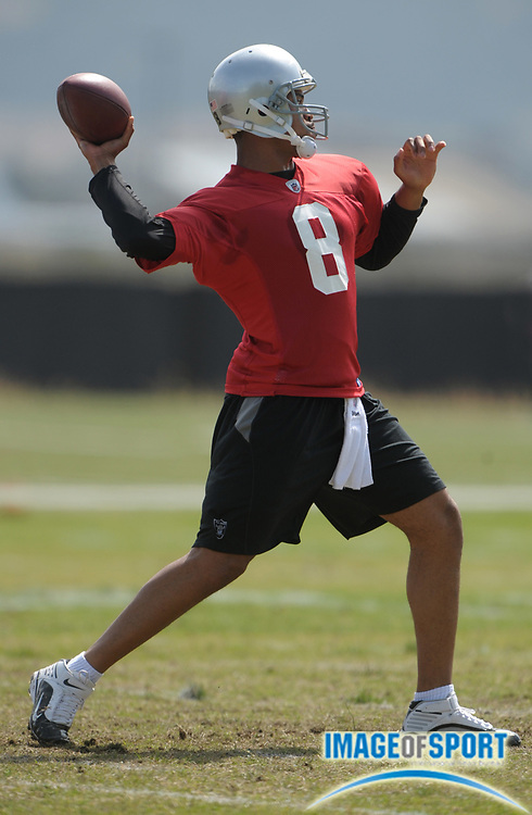 May 26, 2010; Alameda, CA, USA; Oakland Raiders quarterback Jason Campbell (8) throws a pass at organized team activities at the Oakland Raiders practice facility.