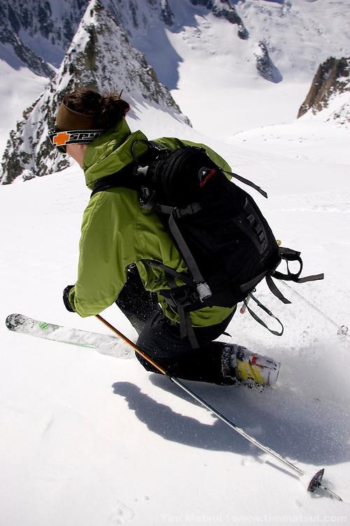 Descending from the Col du Tour Noir on the Amethyst Glacier, Chamonix, France.