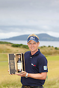 Scottish Open winner 2011. Luke Donald with the winners bottle of Ballantine's 30 year old.