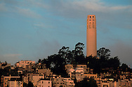 Coit Tower atop Telegraph Hill, North Beach, San Francisco, California