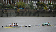 Hammersmith, Greater Game, London, UK. An early, varsity encounter, Goldie move away from Isis after passing then earlier on the course. 2015 Fours Head of the River Race, River Thames [ opposite Chiswick Eyot]  Saturday  07/11/2015 <br /> <br /> [Mandatory Credit: Peter SPURRIER: Intersport Images]