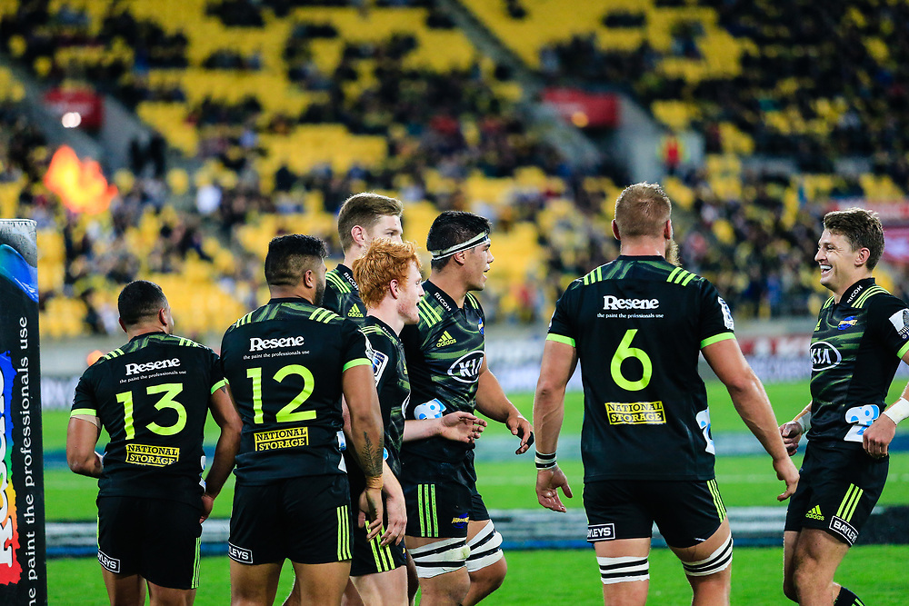 Post score during the Super Rugby union game between Hurricanes and Sunwolves, played at Westpac Stadium, Wellington, New Zealand on 27 April 2018.   Hurricanes won 43-15.