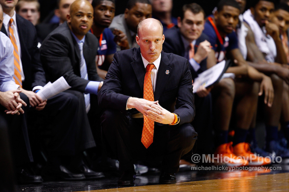 WEST LAFAYETTE, IN - JANUARY 02: Head coach John Groce of the Illinois Fighting Illini seen during the game against the Purdue Boilermakers at Mackey Arena on January 2, 2013 in West Lafayette, Indiana. Purdue defeated Illinois 68-61. (Photo by Michael Hickey/Getty Images) *** Local Caption *** John Groce