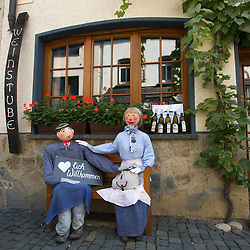 Detail outside wine shop in historic town of Bacharach on River Rhine in Rhineland Germany