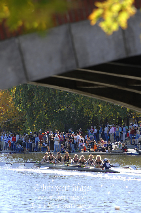 Boston, USA, Collegiate Women's Eights, pass under the Eliot Bridge, at the Head of the Charles Race, Charles River, Cambridge,  Massachusetts. Saturday  21/10/2007 [Mandatory Credit Peter Spurrier/Intersport Images]..... , Rowing Course; Charles River. Boston. USA