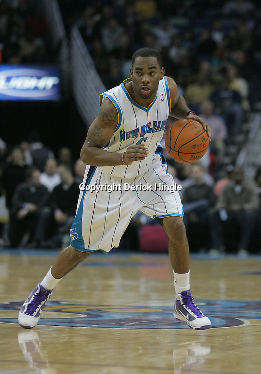 Jan 13, 2010; New Orleans, LA, USA; New Orleans Hornets guard Marcus Thornton (5) drives with the ball against the Los Angeles Clippers during the second half at the New Orleans Arena. The Hornets defeated the Clippers 108-94. Mandatory Credit: Derick E. Hingle-US PRESSWIRE