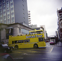 Belfast open top tour bus in Northern Ireland