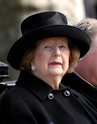 """© under license to London News Pictures. FILE PICTURE: Lady Thatcher has been admitted to hospital for tests.  05/03/2010: Margaret Thatcher attends the  Ceremony for the Memorial Gates at Hyde Park Corner to rename """"The Commonwealth Memorial Gates"""". Baroness Thatcher has died this morning follow a stroke, her spokesman Lord Bell says"""