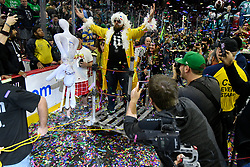 Competitors enter the area on floats, acompanied by entourage and Wingettes. Two days ahead of Super Bowl LII, competitive eaters consume large amounts of wings during the annual Wing Bowl competition, at the Wells Fargo Center in Philadelphia, PA, on February 2, 2018.