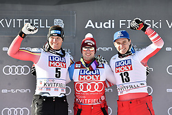 07.03.2020, Kvitfjell, NOR, FIS Weltcup Ski Alpin, Herren, Siegerehrung, Abfahrt Weltcup, im Bild v.l. Thomas Dressen (GER, zweiter Platz Abfahrts Weltcup) Beat Feuz (SUI, erster Platz Abfahrts Weltcup) Matthias Mayer (AUT, dritter Platz Abfahrts Weltcup) // f.l. Thomas Dressen (GER, second place Downhill World Cup) Beat Feuz (SUI, first place Downhill World Cup) Matthias Mayer (AUT, third place Downhill World Cup) during the winner Ceremony for the men's downhill Worlcup rating of FIS ski alpine world cup. Kvitfjell, Norway on 2020/03/07. EXPA Pictures © 2020, PhotoCredit: EXPA/ ZOOM