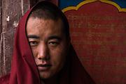 China, Tibet, Sakya Monastery, portrait of monk