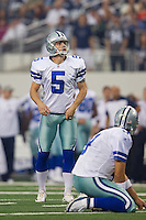 06 November 2011: Kicker (5) Dan Bailey of the Dallas Cowboys lines up to kick a field goal against the Seattle Seahawks during the first half of the Cowboys 23-13 victory over the Seahawks at Cowboy Stadium in Arlington, TX.