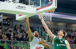 Robert Rothbart of Union Olimpija vs Aleksey Savrasenko of Unics Kazan during basketball match between KK Union Olimpija and Unics Kazan (RUS) of 10th Round in Group D of Regular season of Euroleague 2011/2012 on December 21, 2011, in Arena Stozice, Ljubljana, Slovenia. Unics Kazan defeated Union Olimpija 76-63. (Photo by Vid Ponikvar / Sportida)