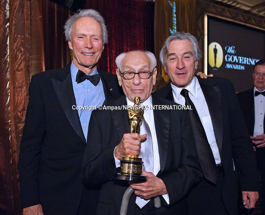 """CLINT EASTWOOD, ELI WALLACH(Honorary Award Recipient) AND ROBERT DE NIRO.2010 Governors Awards,Grand Ballroom at Hollywood & Highland,Hollywood, Los Angeles_14/11/2010.Mandatory Photo Credit: ©Harbaugh/Newspix International..**ALL FEES PAYABLE TO: """"NEWSPIX INTERNATIONAL""""**..PHOTO CREDIT MANDATORY!!: NEWSPIX INTERNATIONAL(Failure to credit will incur a surcharge of 100% of reproduction fees)..IMMEDIATE CONFIRMATION OF USAGE REQUIRED:.Newspix International, 31 Chinnery Hill, Bishop's Stortford, ENGLAND CM23 3PS.Tel:+441279 324672  ; Fax: +441279656877.Mobile:  0777568 1153.e-mail: info@newspixinternational.co.uk"""