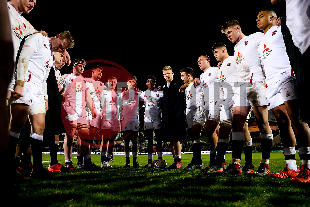 England U20 huddle after Ireland U20 win 21-39 - Rogan/JMP - 21/02/2020 - Franklin's Gardens - Northampton, England - England U20 v Ireland U20 - Under 20 Six Nations.