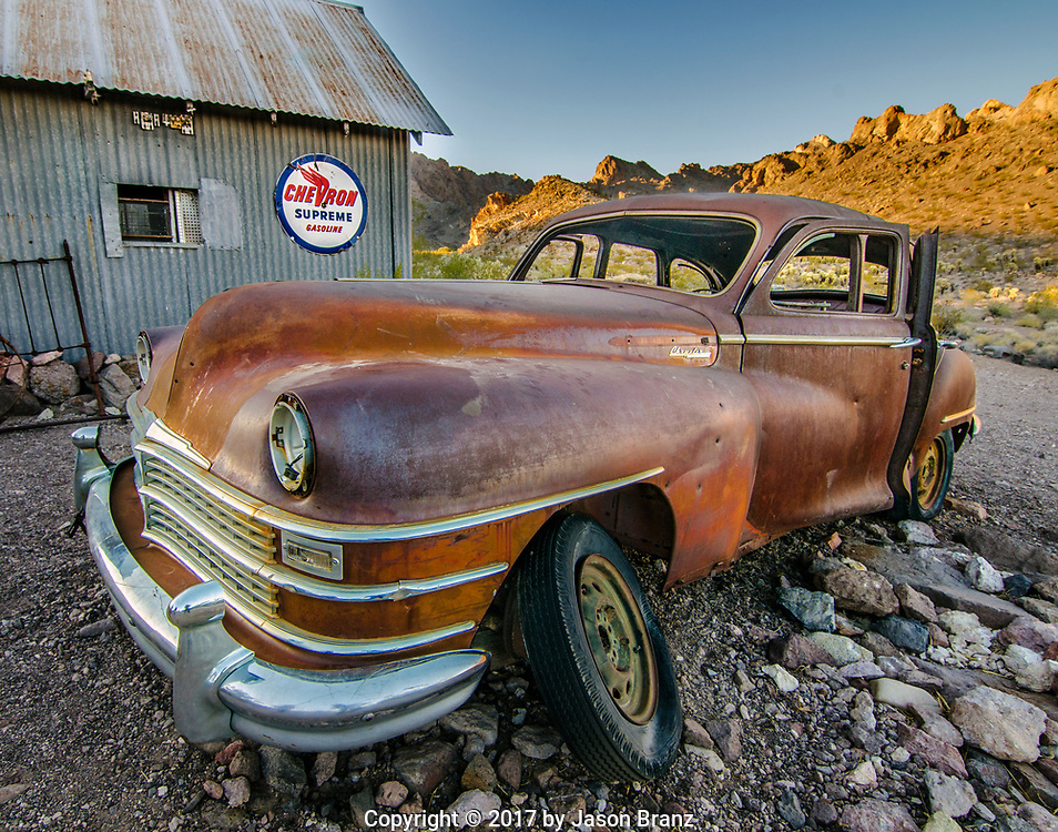 Rusty cars in the Nevada desert.