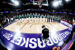 Team Lithuania listening to the National anthem during basketball match between National Teams of Lithuania and Greece at Day 10 in Round of 16 of the FIBA EuroBasket 2017 at Sinan Erdem Dome in Istanbul, Turkey on September 9, 2017. Photo by Vid Ponikvar / Sportida
