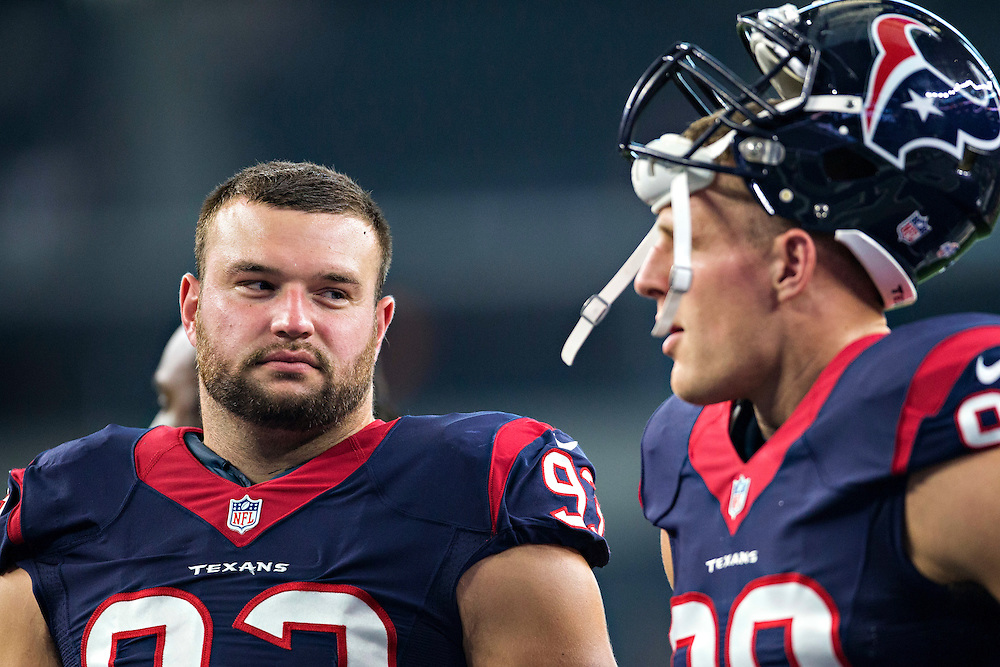 ARLINGTON, TX - SEPTEMBER 3:  Jared Crick #93 and J.J. Watt #99 of the Houston Texans talk on the field before a preseason game against the Dallas Cowboys at AT&T Stadium on September 3, 2015 in Arlington, Texas.  The Cowboys defeated the Texans 21-14.  (Photo by Wesley Hitt/Getty Images) *** Local Caption *** Jared Crick; J.J. Watt
