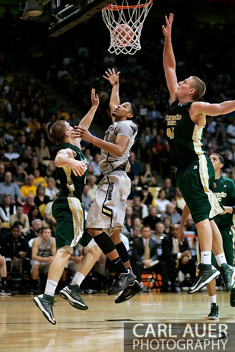 December 5, 2012: Colorado Buffaloes junior forward ANDRÉ ROBERSON (21) flips a shot up in the NCAA Basketball game between the Colorado State Rams and the Colorado Buffaloes at the Coors Event Center in Boulder Colorado