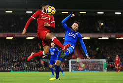 Christian Fuchs of Leicester City challenges Joe Gomez of Liverpool - Mandatory by-line: Matt McNulty/JMP - 30/12/2017 - FOOTBALL - Anfield - Liverpool, England - Liverpool v Leicester City - Premier League