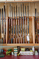 Rifles on display in gun shop