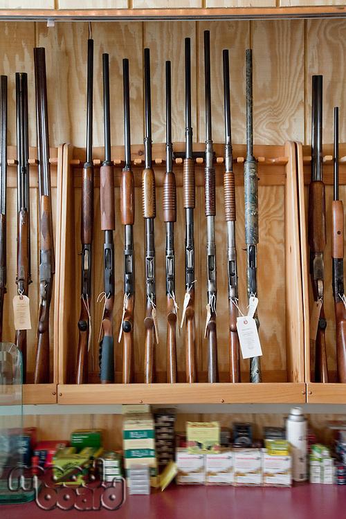 Rifles on display in gun shop