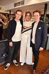 Left to right, The Earl of March, Daisy Knatchbull and Archie Manners at The Tribe Syndicate launch party hosted by Highclere Thoroughbred Racing at Beaufort House, 354 King's Rd, London England. 25 April 2018.