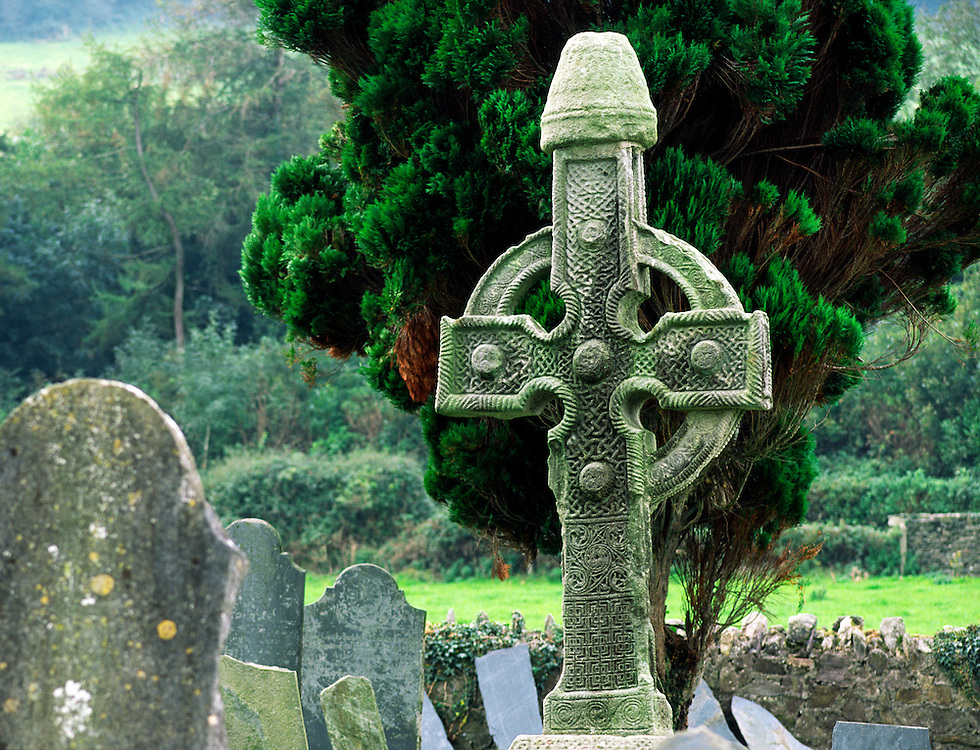 The North Cross, one of the 2 Ahenny Celtic high crosses in monastic site of Kilclispen, Carrick-on-Suir, Co. Tipperary, Ireland