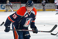 KELOWNA, CANADA -FEBRUARY 1: Collin Shirley LW #15 of the Kamloops Blazers stands on the ice against the Kelowna Rockets on February 1, 2014 at Prospera Place in Kelowna, British Columbia, Canada.   (Photo by Marissa Baecker/Getty Images)  *** Local Caption *** Collin Shirley;