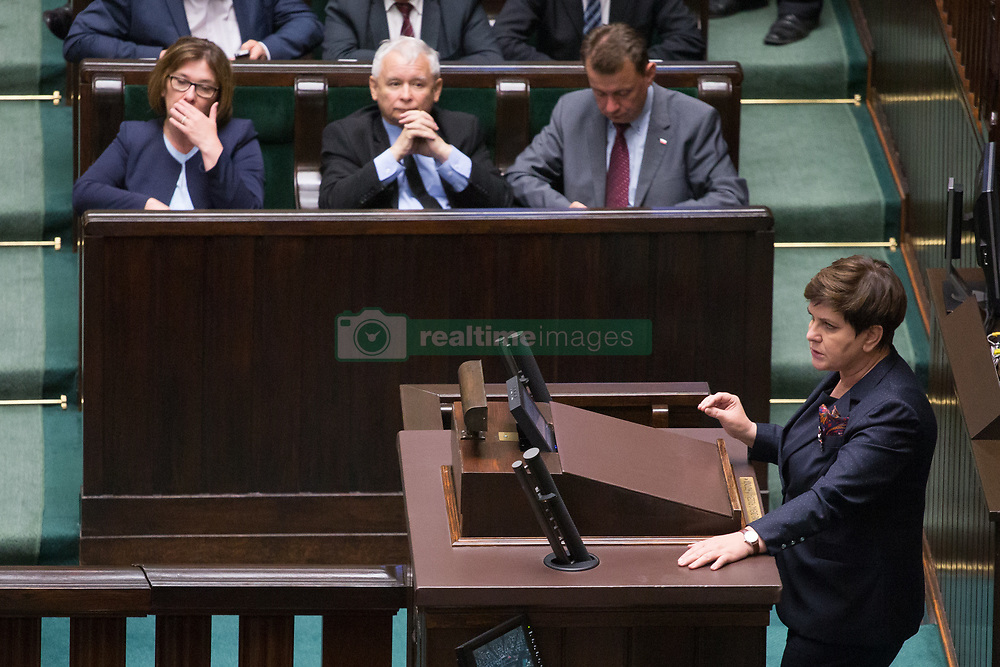July 18, 2017 - Warsaw, Poland - Prime Minister of Poland Beata Szydlo (R) and Jaroslaw Kaczynski (bottom row, 2-L) during a night debate on a Supreme Court bill, in the lower house of Polish Parliament (Sejm) in Warsaw, Poland on 18 July 2017  (Credit Image: © Mateusz Wlodarczyk/NurPhoto via ZUMA Press)