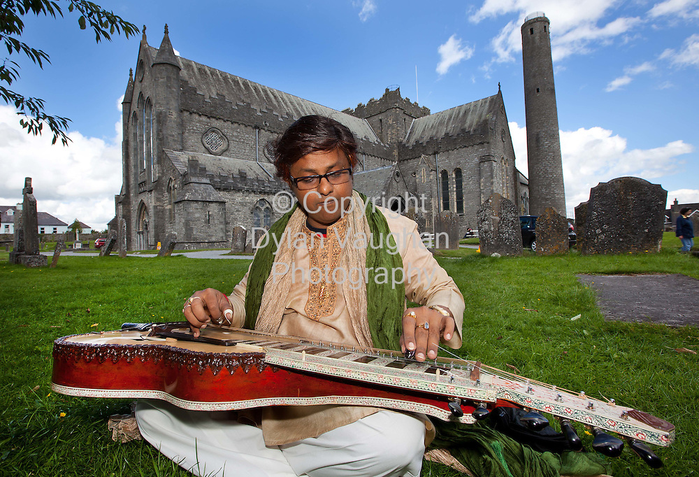 10/8/2010.Free picture no charge for use.Indian slide guitarist Debashish Bhattacharya pictured at St Canices Cathedral in Kilkenny before his performance at Kilkenny Arts Festival, Tuesday the 10th of August..Kilkenny Arts Festival runs until August the 15th.www.kilkennyarts.ie.Picture Dylan Vaughan.